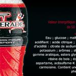 Le colorant varie selon les parfum : Carmoisine pour le parfum cerise, bleu brillant ou E160a..